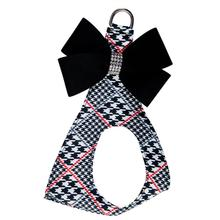 Classic Glen Houndstooth Black Nouveau Bow Step-In Dog Harness by Susan Lanci