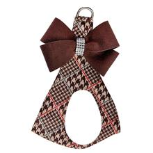 Chocolate Glen Houndstooth Nouveau Bow Step-In Dog Harness by Susan Lanci - Chocolate Bow
