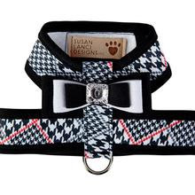 Classic Glen Houndstooth Tinkie Dog Harness with Really Big Bow and Trim by Susan Lanci - Black & White