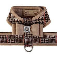 Chocolate Glen Houndstooth Tinkie Dog Harness with Big Bow and Trim by Susan Lanci - Fawn