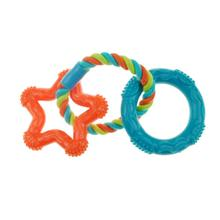 Chomper Mini TPR Rope 'N Rings Dog Toy - Orange Star