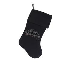 Merry Christmas Rhinestone Velvet Dog Stocking - Black