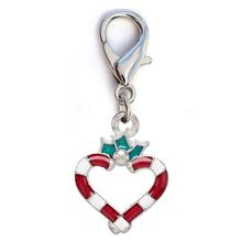 Christmas Candy Cane Silver Heart Dog Collar Charm by Diva Dog