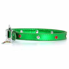 Foxy Metallic Green Christmas Collar w/Christmas Tree Charm