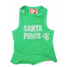 Rhinestone Santa Paws Christmas Tank Dog Dress - Green