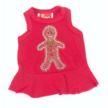Gingerbread Man Christmas Dog Dress - Red