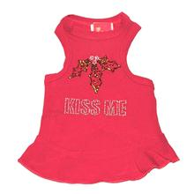 Kiss Me Rhinestone Christmas Dog Dress - Red