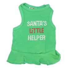 Santa's Little Helper Rhinestone Christmas Dog Dress - Green