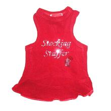 Stocking Stuffer Rhinestone Christmas Dog Dress - Red