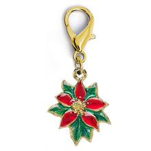 Christmas Poinsettia Dog Collar Charm by Diva Dog - Gold