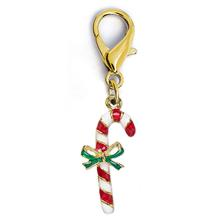 Christmas Candy Cane Dog Collar Charm by Diva Dog - Gold