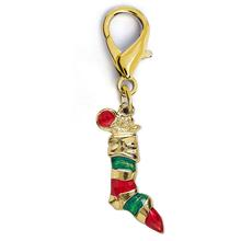 Christmas Stocking Dog Collar Charm by Diva Dog - Gold