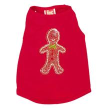 Rhinestone Gingerbread Man Christmas Dog Tank - Red
