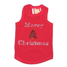 Merry Christmas Tree Rhinestone Holiday Dog Tank - Red