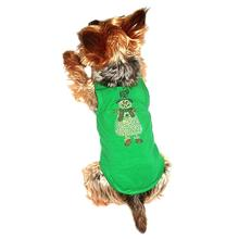 Rhinestone Snowman Holiday Dog Tank - Green