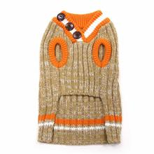 City V-Neck Dog Sweater by Dogo - Beige with Orange Trim