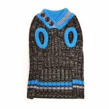 City V-Neck Dog Sweater by Dogo - Brown with Blue Trim