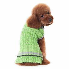 City V-Neck Dog Sweater by Dogo - Green with Gray Trim
