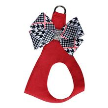 Classic Glen Houndstooth Nouveau Bow Step-In Dog Harness by Susan Lanci - Red