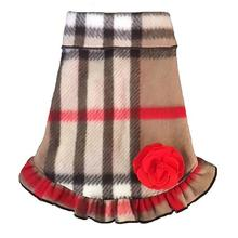 Classic Tan Plaid Dog Pullover Dress with Red Flower