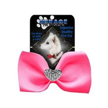 Mirage Clear Crystal Heart Chipper Dog Bow Tie - Hot Pink