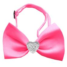 Clear Crystal Heart Chipper Dog Bow Tie - Hot Pink