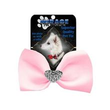 Mirage Clear Crystal Heart Chipper Dog Bow Tie - Light Pink