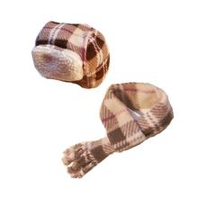 My Canine Kids Aviator Hat and Scarf Set for Dogs - Tan Plaid