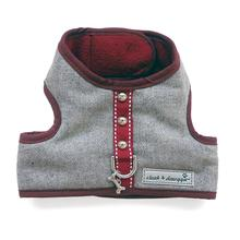 Cloak & Dawggie Flannel Teacup Dog Harness - Burgundy