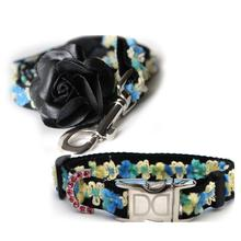 Coco Blue Small Dog Collar and Leash Set by Diva Dog