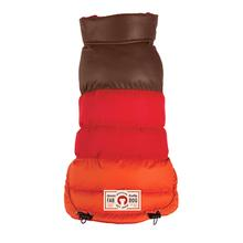 fabdog® Colorblock Puffer Dog Coat - Brown, Red, and Orange