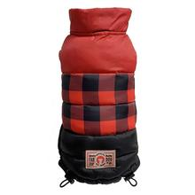 fabdog® Colorblock Puffer Dog Coat - Red Buffalo Check