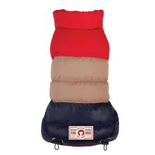 fabdog® Colorblock Puffer Dog Coat - Red, Tan and Navy