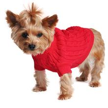 Cable Knit Dog Sweater by Doggie Design - Fiery Red