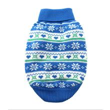 Snowflake and Hearts Dog Sweater by Doggie Design - Blue