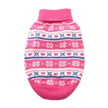 Snowflake and Hearts Dog Sweater by Doggie Design - Pink