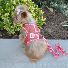 Cool Mesh Dog Harness by Doggie Design - Hawaiian Hibiscus Red