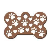 Copper Etched Bone Small Engravable Pet I.D. Tag - Paws and Hearts