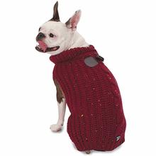 Corbin's Cable Dog Sweater - Cranberry