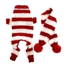 Cozy Knitted Dog Jumper with Scarf - Red and White Stripes