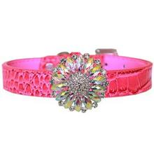 Crystal Blanche Croc Dog Collar - Pink