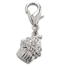 Crystal Cupcake D-Ring Pet Collar Charm by FouFou Dog - Clear