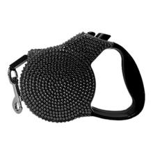 Crystal Retractable Leash - Black