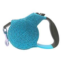 Crystal Retractable Leash - Blue