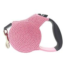 Crystal Retractable Dog Leash - Light Pink