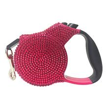 Crystal Retractable Dog Leash - Dark Pink