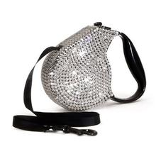 Crystal Retractable Dog Leash - Silver