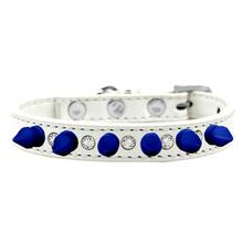 Crystals and Blue Spikes Dog Collar - White