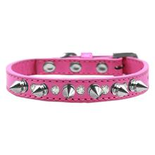 Crystals and Silver Spikes Dog Collar - Bright Pink