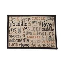 Cuddle Tapestry Dog Bowl Placemat - Natural/Black